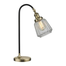 "Black Antique Brass 1-Light, Vintage Dimmable LED Bulb, Black Brook 7"" Lamp"