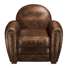 Pomona Industrial Brown Leather Club Chair, Brown
