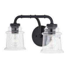 Toledo 2 Light Black Industrial Bathroom Vanity Fixture Clear Glass