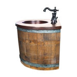wall mounted wine barrel vanity and faucet package rustic bathroom vanities and sink. Black Bedroom Furniture Sets. Home Design Ideas
