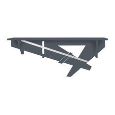 Geometric Long Wall-Mounted Console Table, Anthracite