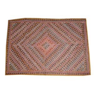 Mogul Interior - Red Blue Moti Beaded Embroidered Tapestry - Tapestries