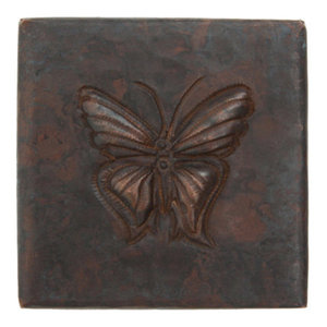 "2"" X 2"" Butterfly Design Accent Copper Tile (TL502BFY)"