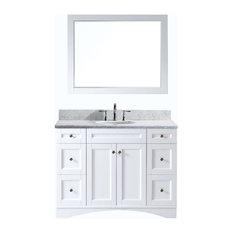 """Virtu Elise 48"""" Single Bathroom Vanity, White With Marble Top, With Mirror"""