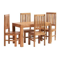 Santiago Light Mango 5-Piece Dining Table Set With Wooden Chairs
