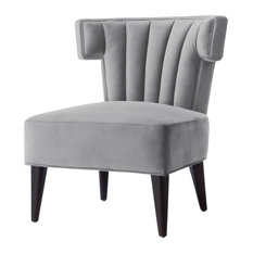 Nicole Miller Kairo Velvet Accent Chair With Tapered Legs, Gray