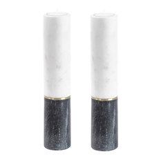 "Mandani 2-Piece Two-Tone Marble Tealight Candle Holder Set, 10"" Tall"