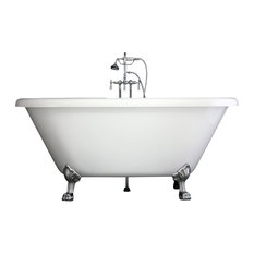 Double Ended Clawfoot Bathtub/Faucet Set, Chrome, 59""
