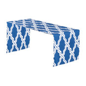 """Two Tone Moroccan Design Cotton Table Runner, 16""""x72"""" lar, Navy Blue"""