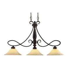 Torbellino 3-Light Linear Pendant, Cordoban Bronze With Remolino Glass