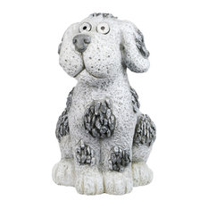Solar Pebble Dog Garden Statue w/White LED Light and On/Off Button, 14 Inch Tall