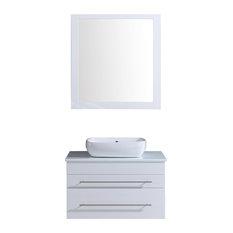 Modern Wall Mount Vanity Cabinet Set White 30-inch