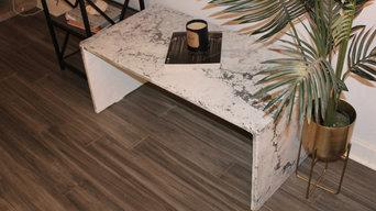 Seattle - White Concrete w/ Black Veining Waterfall Coffee Table