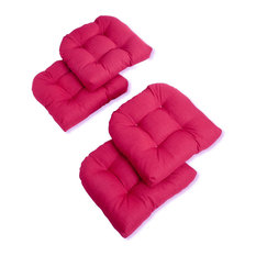 U-Shaped Outdoor Tufted Chair Cushions, Set of 4, Pink