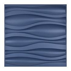 "19.7""x 19.7"" Art3d Decorative 3D Wall Panel PVC Wave Wall Design, Set of 12, Blu"