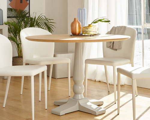Cleo 4 Seater Matt Grey Pedestal Dining Table   Dining Tables