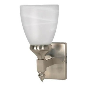 Nuvo Triumph 1-Light Brushed Nickel and Alabaster Glass Wall Sconce