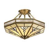 Semi flush Light - Tiffany style glass & antique brass finish