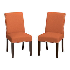 Manassa Upholstered Dining Chairs, Orange Linen, Set of 2