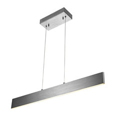 "Draper 32"" Dimmable Adjustable Integrated Led Linear Pendant, Brushed Aluminum"