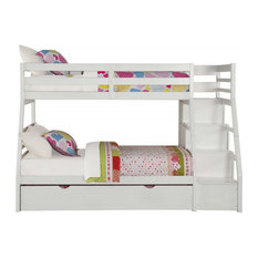 Twin Over Full Bunkbed, Storage Ladder, Trundle, White, Pine Wood, MDF, Plywood