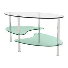 Ryan Rove Ryan Rove Fenton 38 Inch Oval Two Tier Glass Coffee Table Coffee