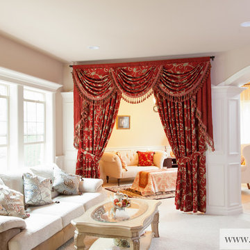 """""""Louis XVI Royal Red Valance"""" Elegant Designer Curtains with Swags and Tails"""
