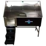 """Groomer's Best - Elite Dog Wash, Black, 48"""", Right Drain - Groomers Best Elite Bathing Tub is top of the line.  Featuring a fully welded design and double sealed.  Our textured coating protects your tub and guarantees no leaking or rusting, and can also be ordered in a color to match your decor.  Includes Lift & Slide steps that allow the animals ease of access and smoothly slide underneath the tub for your convenience.  Removable raised tray is great for small dogs! No assembly required, wash tub ships ready to install!  Easy to use and maintain!"""