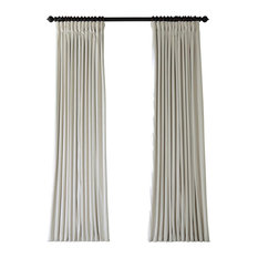 "Signature Off White Doublewide Blackout Velvet Curtain Single Panel, 100""x96"""