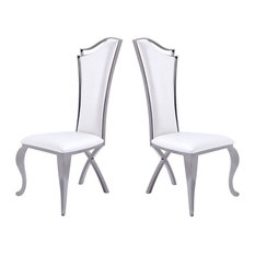 Bonnie White Leatherette and Black Stainless Steel Dining Chair, Set of 2