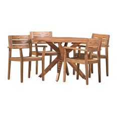 5-Piece Stanford Outdoor Teak Finish Acacia Wood Dining Set
