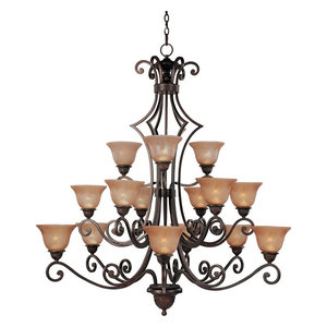 Symphony 15-Light Chandelier, Oil Rubbed Bronze, Screen Amber
