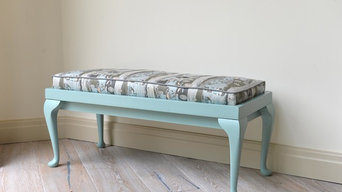 Reinvented blue stool with 1970's fabric