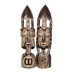 Novica Hope and Interdependence African Wood Masks, Set of 2