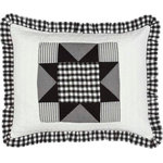 VHC Brands - Emmie Standard Sham - An on trend yet classically styled look for the modern farmhouse, the Emmie Standard Sham captures attention with contrasting black and white, creating a statement look for your bedroom. The heart of this sham is an 8-point star set within a patchwork block of checks, microchecks and ticking stripes. Hand-quilted, 100% cotton. Features three tie-enclosures with three-inch overlaps to conceal inserts.