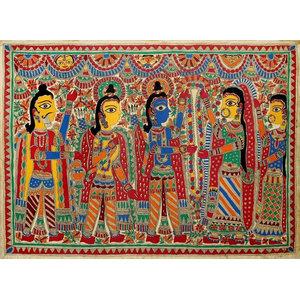 Rama and Sita Wed Madhubani Painting