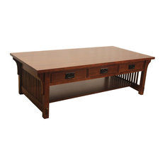 Crafters And Weavers   Arts And Crafts Mission Coffee Table With 3 Drawers    Coffee Tables