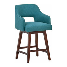 Mid Century Stool With Solid Hardwood Frame And Padded Polyester Fabric Seat
