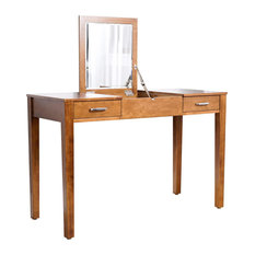 Makeup Vanity Table, Flip Up Mirror With Charging Station and Drawers, Walnut