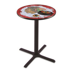 Chicago Blackhawks Pub Table w/Red Background 42-inch by Holland Bar Stool Company
