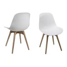 Scrambi Dining Chair, White Plastic, Set of 2
