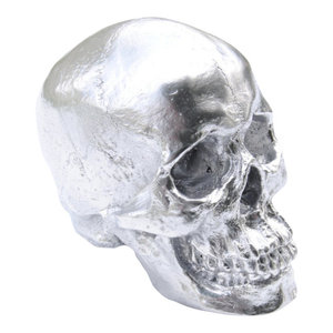 Faux Human Skull, Resin Home Decor, Table Top Skeleton Head, Chrome