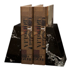 Platanus Collection Black and Gold Marble Bookends, Black Zebra