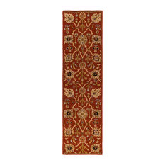 "Traditional 2'3""x8' Red and Yellow Runner Rug"