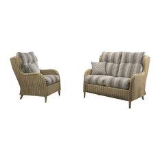 Hartford 2-Piece Rattan Conservatory Furniture Set With Striped Ashton Cushions