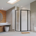 """Coastal Shower Doors - Legend Framed Neo-Angle Shower Door, Clear, Black, 59""""x70"""" - This easy to install new line of doors offers a tremendous amount of adjustability and fast install in less than 20 minutes. Incorporating adjustable panels with up to 1-1/2 in. of adjustment, the Legend is ideal for DIY or multi-family applications where ease of installation and efficiency are paramount. By incorporating the door handle and drip sweep into the unit there are a minimal amount of parts and pieces to install. The integrated sill means there is no need to measure and cut any extrusions other than the header. Available in chrome, brushed nickel, and black finishes, the Legend will complement any bathroom decor."""