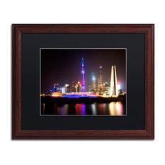 "Philippe Hugonnard 'Shanghai City' Art, Wood Frame, Black Matte, 20""x16"""