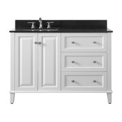 """Hannah 48"""" Off-Centered Vanity and Mirror, White With Black Quartz Top, L. Basin"""