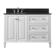 """Hannah 48"""" Off-Centered Vanity Set With Mirror, Left Basin"""