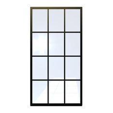 """Gridscape Series FDL Factory Window Shower Screen - Black, 40""""x80"""""""